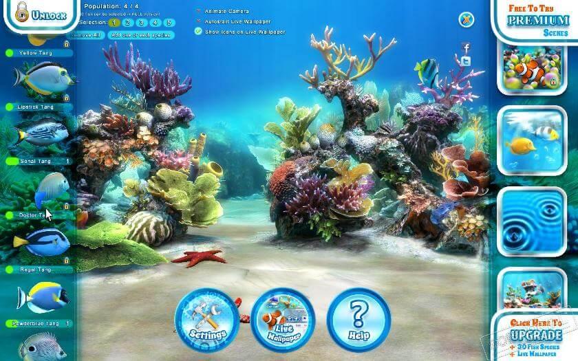 Sim Aquarium 3 personaliza a sua tela com aquarios